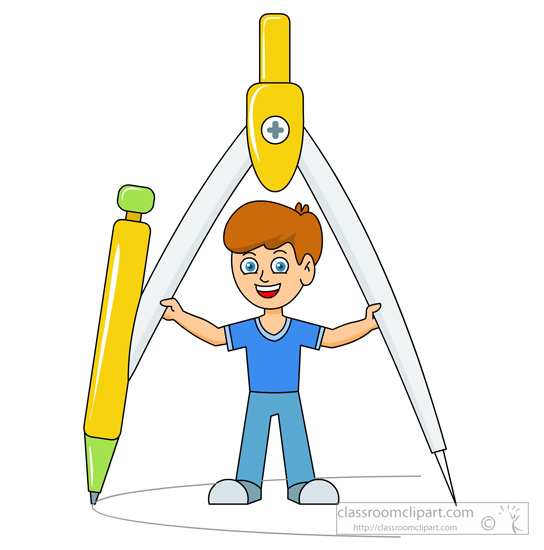 Student holding a large protractor clipart