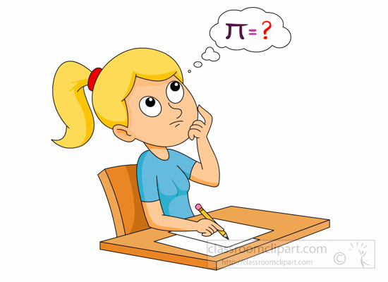girl thinking about how to solve a math problem clipart