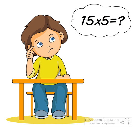 Student thinking about multiplication problem clipart